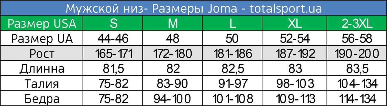 Размерная сетка Joma мужская низ