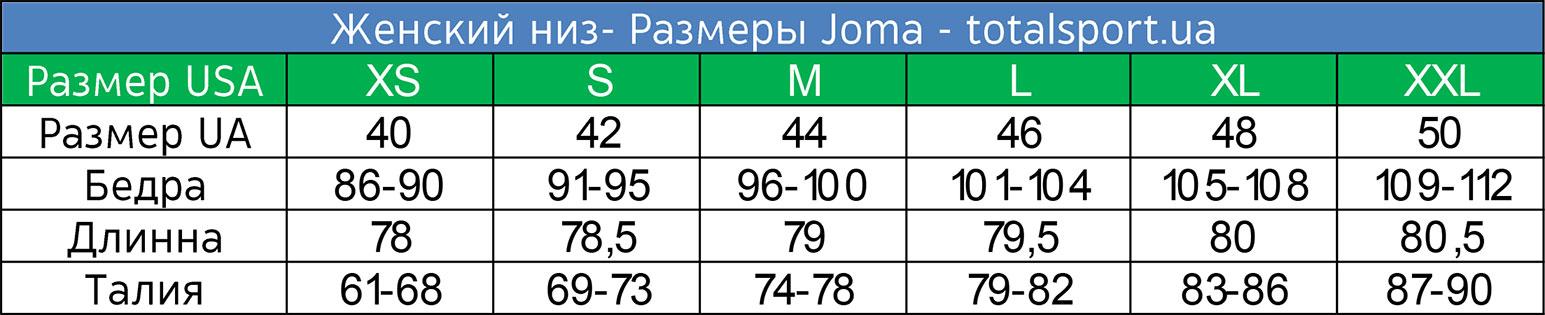 Размерная сетка Joma женская низ