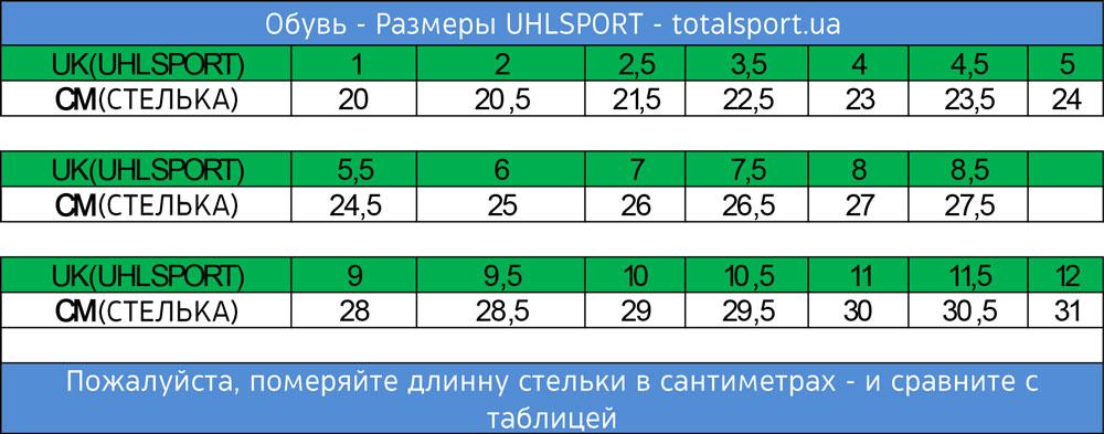 Размерная сетка Uhlsport обувь(бутсы, футзалки, сороконожки)