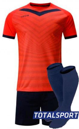 Футбольная форма Europaw 026 кораллово-т.синяя