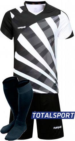 Футбольная форма Europaw 023 черно-белая для команды