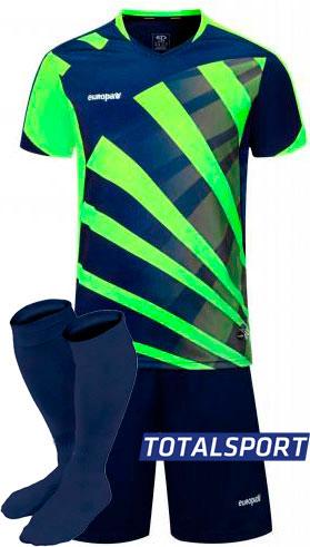 Футбольная форма Europaw 023 сине-салатовая для команды