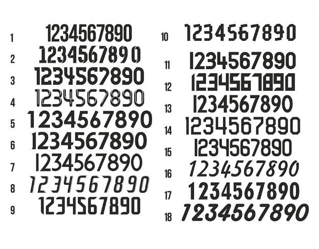 Цифры нанесения номеров