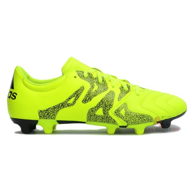 Купить футбольные бутсы Adidas X 15.3 FG Leather салатовые недорого ... 4ff36278ec1db