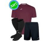 Акция! Комплект футбольной формы Joma Combi(футболка+шорты+гетры) 100052.650 - бордово-черный