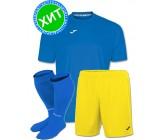 Акция! Комплект футбольной формы Joma Combi(футболка+шорты+гетры) 100052.700.1 - голубая с желтым